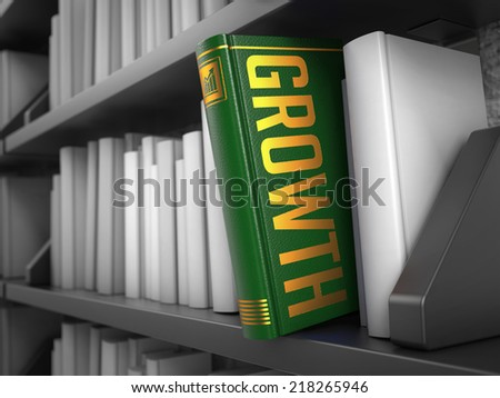 Growth - Green Book on the Black Bookshelf between white ones. Internet  Concept. - stock photo
