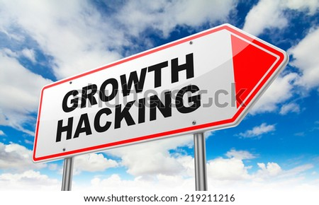 Growth Hacking - Inscription on Red Road Sign on Sky Background. - stock photo
