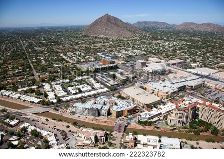 Growth in old town Scottsdale, Arizona as viewed from above - stock photo