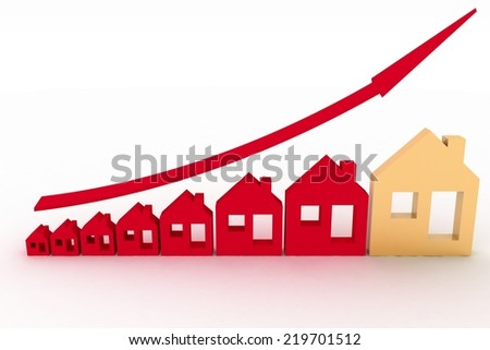 Growth in real estate shown on graph . 3d illustration on white background. - stock photo