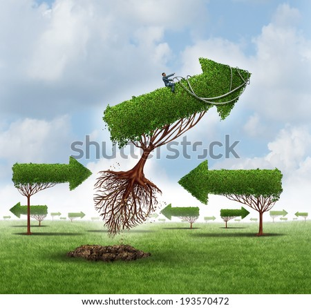 Growth Leadership business concept as a businessman on a flying arrow tree that is uprooted leading over a group of other confused trees as a financial guidance solution metaphor for advice power. - stock photo