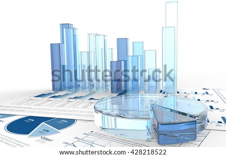 Growth. Macro view of 3D render of financial documents with graphs and pie charts of glass. - stock photo