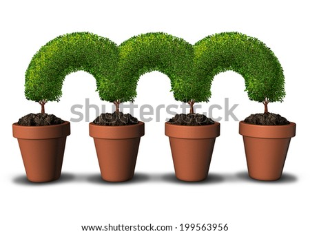 Growth network business concept as a group of planting pots with trees connected together in a linked chain as a metaphor for communication and partnership success or bridging the gap in unity. - stock photo