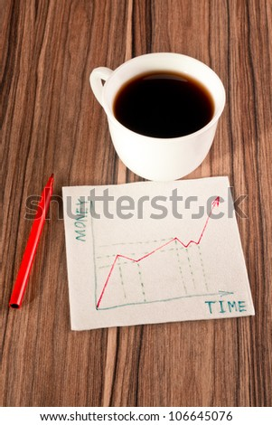Growth of money on a napkin and cup of coffee - stock photo