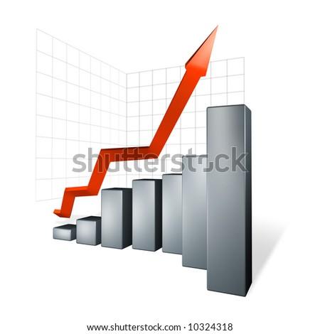 growth of profit margin (grey) - stock photo