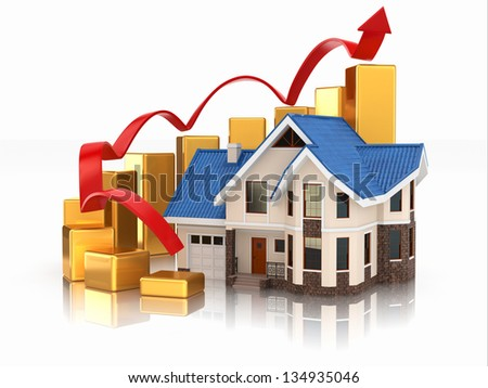 Growth of real estate market House and graph. 3d - stock photo