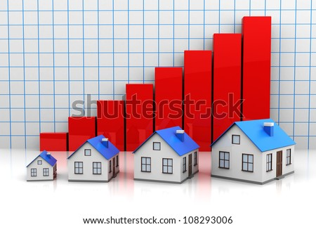 Growth price of  houses with red graph - stock photo