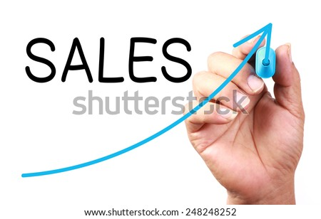Growth Sales drawn on transparent whiteboard. - stock photo