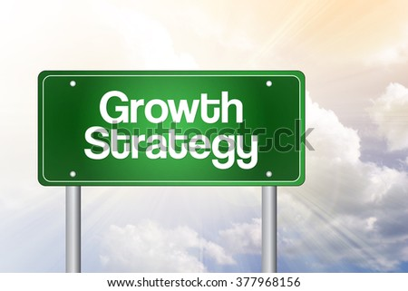 Growth Strategy green road sign, business concept background - stock photo