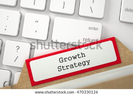 Growth Strategy. Red Sort Index Card on Background of White Modern Computer Keypad. Business Concept. Closeup View. Blurred Image. 3D Rendering.