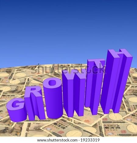growth text graph on Japanese Yen illustration - stock photo