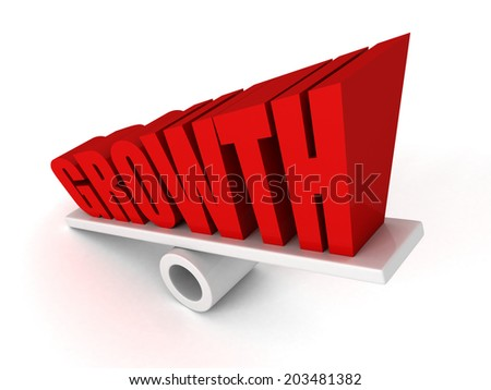 GROWTH text word symbol on balance grow up. success concept 3d render illustration - stock photo