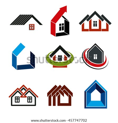 Growth trend of real estate industry, simple house icons. Abstract building with an arrow showing up.
