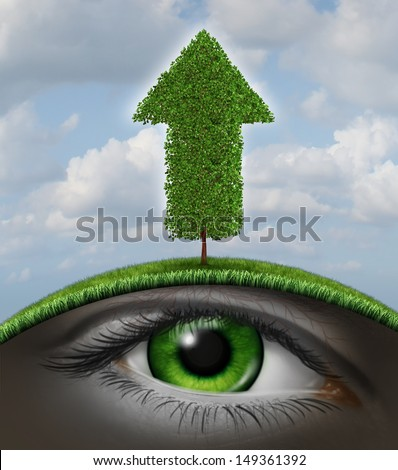 Growth vision business concept as a tree in the shape of an upward arrow and a human eye underground growing in the roots as a symbol of investment success with seed money for new financial ventures. - stock photo