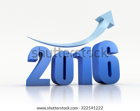 Growth 2016 With Arrow - stock photo