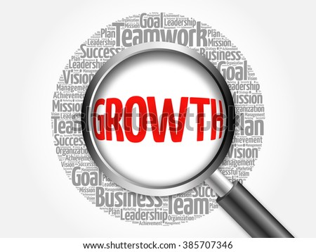 Growth word cloud with magnifying glass, business concept - stock photo