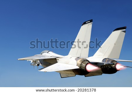 Grumman F-14 Tomcat fighter jet in full speed, two engines with afterburners giving more boost, viewed from behind left - stock photo