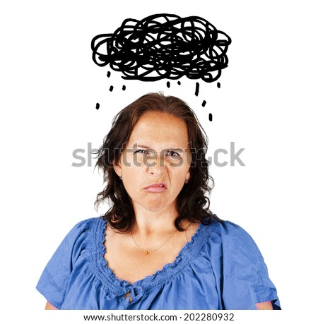 Grumpy middle aged woman with dark cloud over head - stock photo