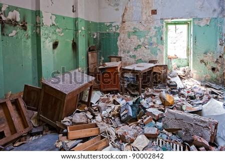 Grunge abandoned office - stock photo
