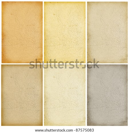 Grunge aged paper background collection - stock photo