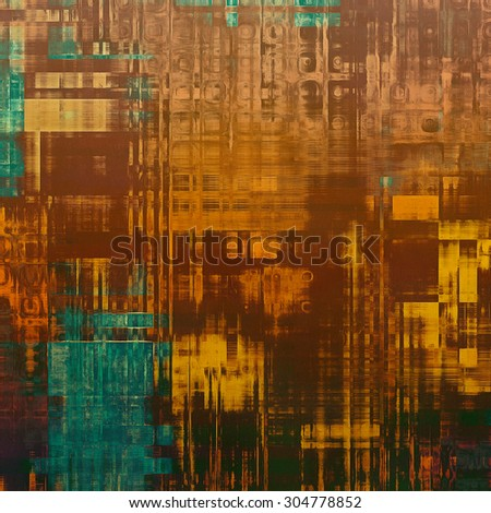 Grunge aging texture, art background. With different color patterns: yellow (beige); brown; blue; green - stock photo