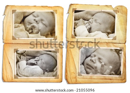 Grunge album pages with sepia pictures of a sleeping newborn baby, clip path incl - stock photo