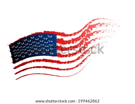 Grunge American flag On A White Background - stock photo