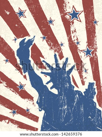 Grunge American Independence Day themed background. Raster version, vector file available in portfolio. - stock photo