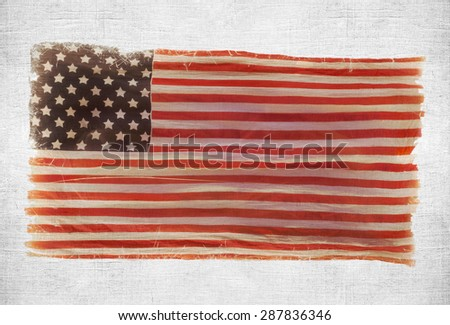 grunge American national flag on wall background - stock photo