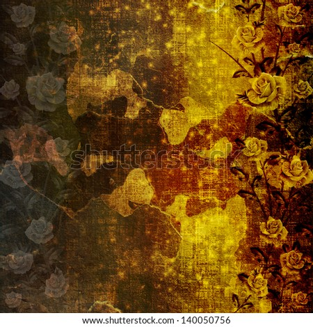 Grunge ancient used paper in scrapbooking style with roses - stock photo