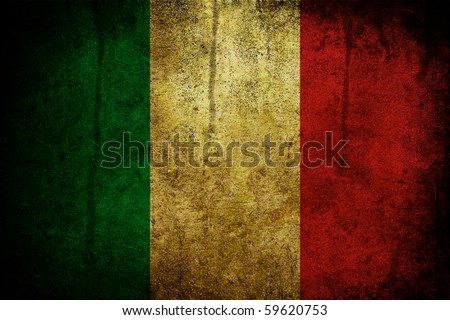 Grunge and burned flag of the Italy - stock photo