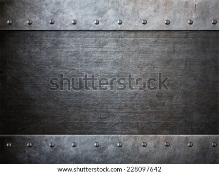 grunge armor metal with rivets background - stock photo