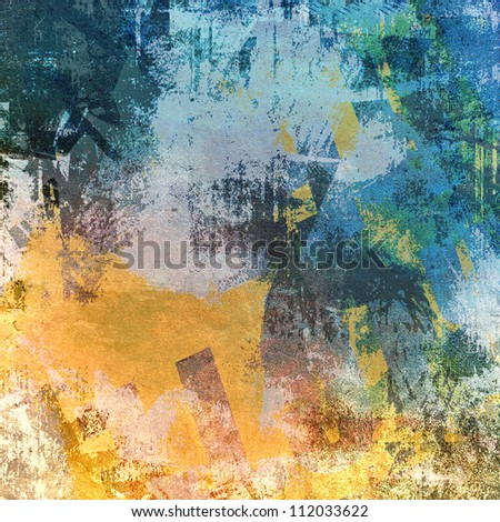 Grunge art background, blue and brown color