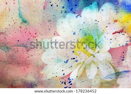 grunge artwork with lovely chamomile and colorful watercolor - stock photo