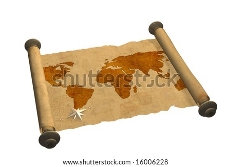 Grunge background - ancient map of the world - stock photo