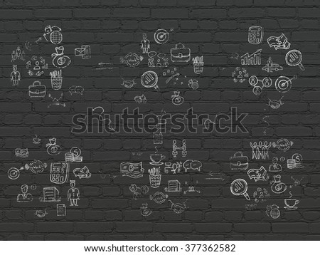 Grunge background: Black Brick wall texture with Painted Hand Drawn Business Icons