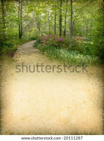 Grunge background of a spring forest with room for text. - stock photo