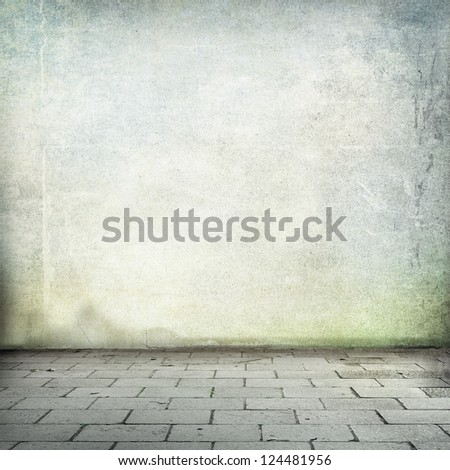 grunge background old street wall texture and sidewalk room interior without ceiling - stock photo