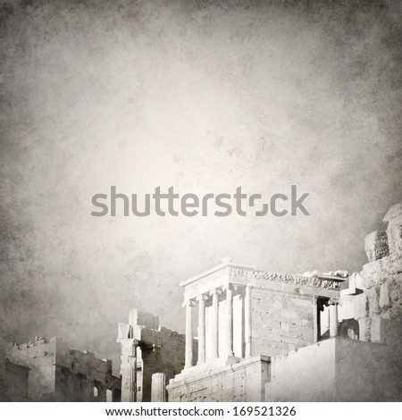 Grunge background template with ancient Greek ruins fading out  - stock photo