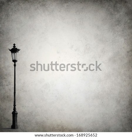 Grunge background template with old-fashioned street light - stock photo
