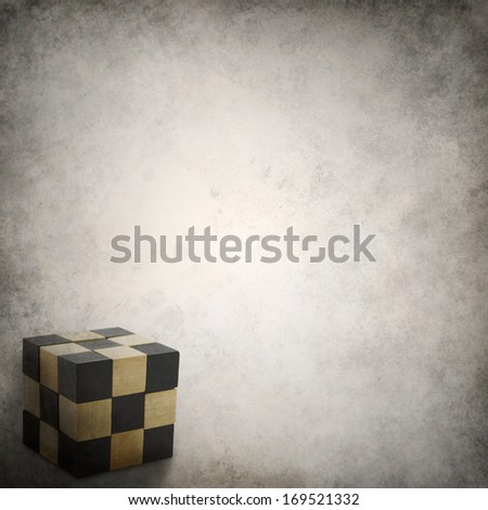 Grunge background template with puzzle cube - stock photo