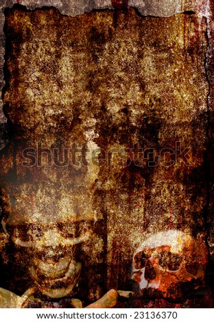 grunge background wiht two skul - stock photo