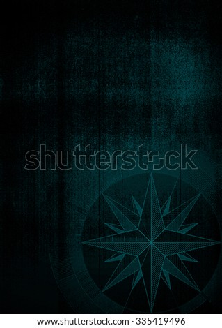 Grunge background with a wind rose in a draft style. Black pattern. - stock photo