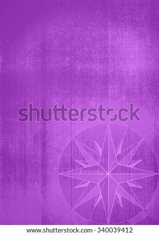 Grunge background with a wind rose in a draft style. Violet pattern. - stock photo