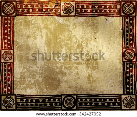 Grunge background with American Indian ethnic patterns and stucco texture - stock photo