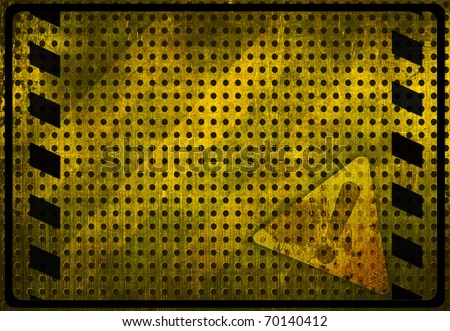 Grunge background with attention sign - stock photo