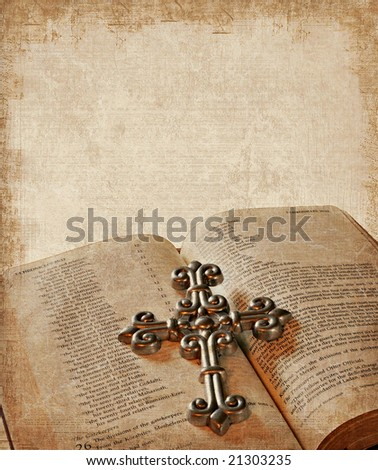 Grunge background with bible and cross - stock photo