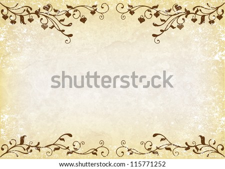 Grunge background with brown swirls and hearts - stock photo