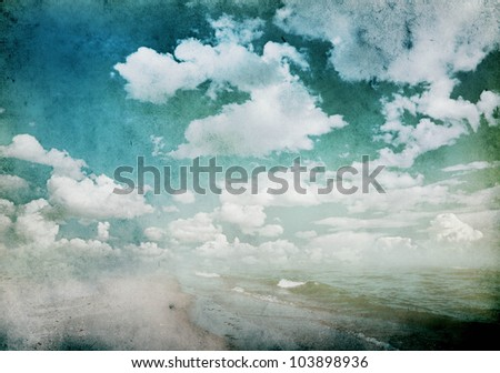 grunge background with clouds and sea view - stock photo
