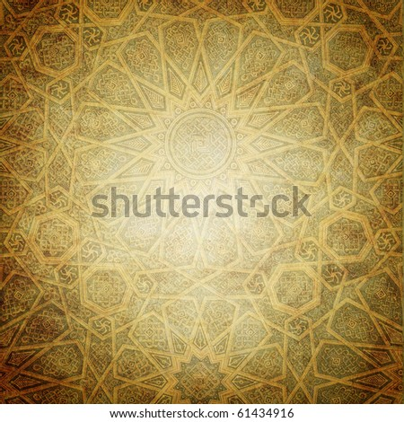 grunge background with decorative ornaments - stock photo